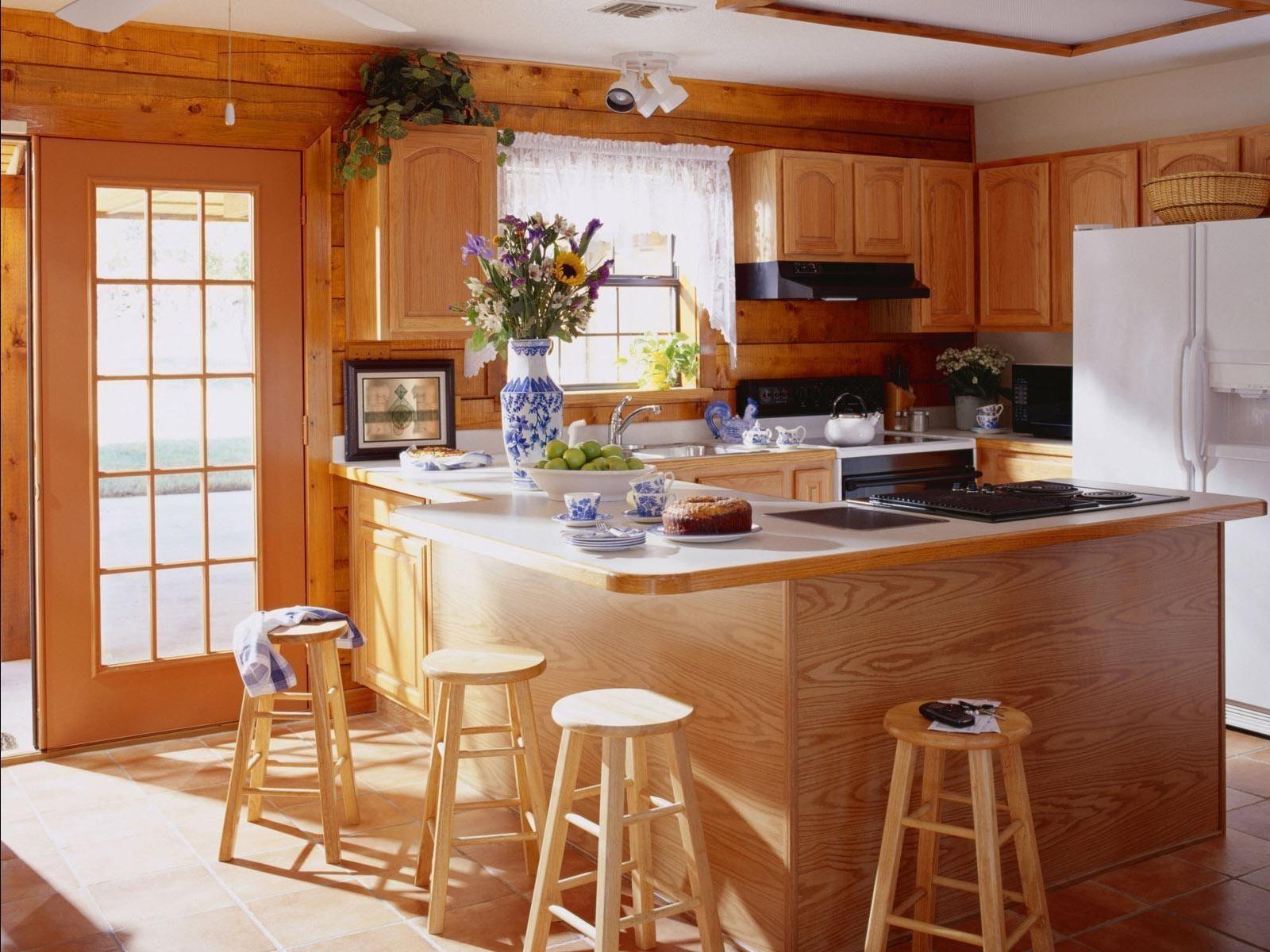 Кухни под дерево дизайн
